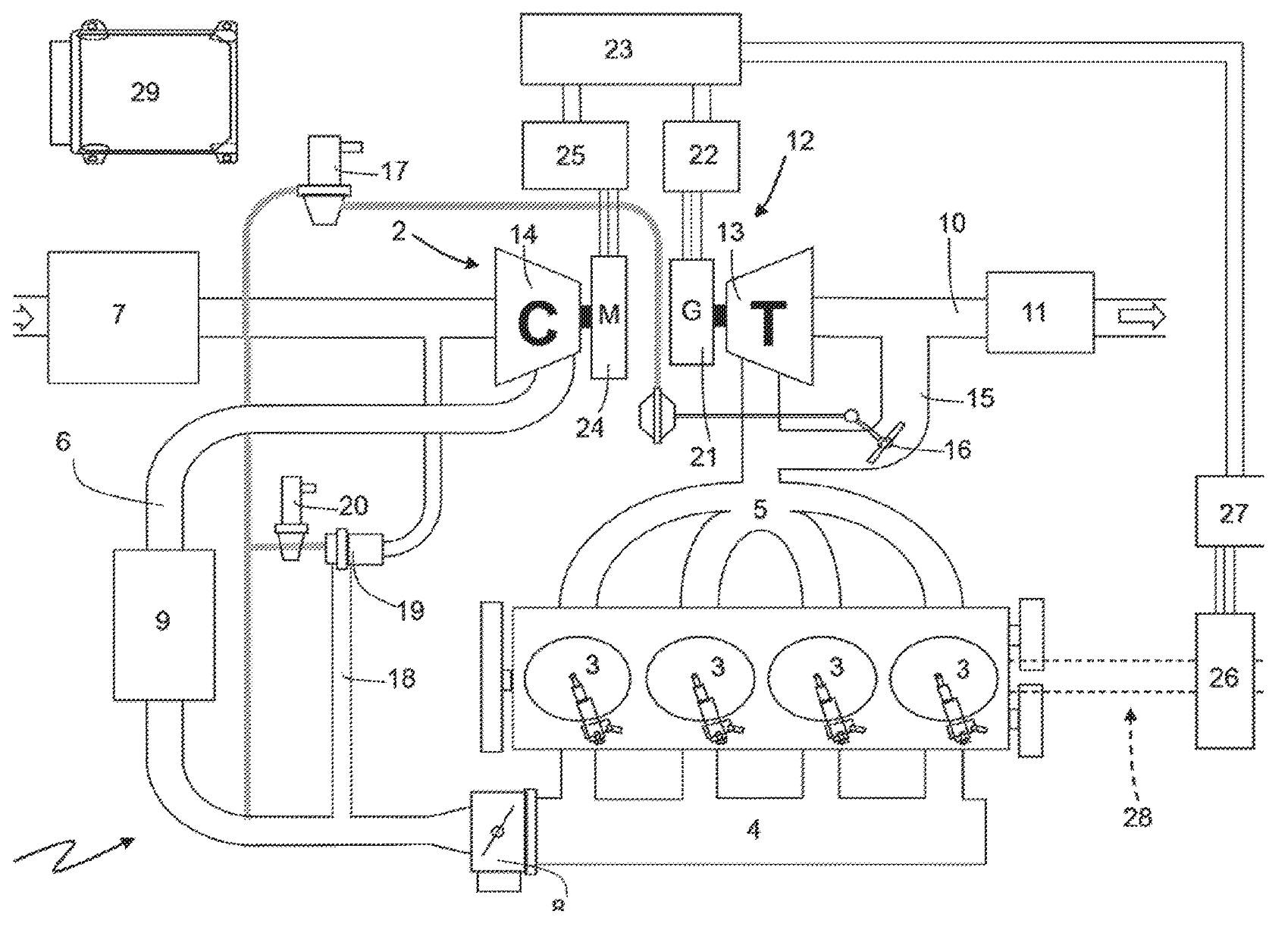 The Sound Of A Ferrari Engine Diagram This Application Addresses Supercharger Driven By An Electric Motor Exhaust Turbine Drives Generator To Power Battery And